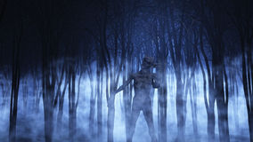 3D demonic figure in a foggy forest. 3D render of a demonic figure in a foggy forest stock illustration