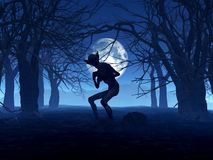 3D demonic figure in spooky forest Stock Images