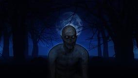 3D demonic figure in spooky woods Stock Photography