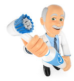 3D Dentist with a electric toothbrush Stock Photos