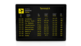 3d departure information board at airport. Departure information board at airport on white background Royalty Free Stock Photography