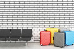 3d departure lounge with travel suitcase. 3d illustration. departure lounge with travel suitcase. Air Travel concept Stock Photo
