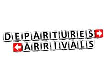 3D Departures Arrivals Button Click Here Block Text. Over white background Stock Images