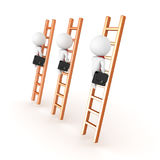 3D depiction of climbing the corporate ladder concept. On white vector illustration