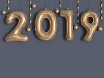 3d des Ballon-Textes der Wiedergabe 2019 metallische graue Wand/des Zahlgoldes lizenzfreie abbildung