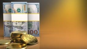 3d des billets de banque du dollar Image libre de droits