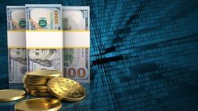 3d des billets de banque du dollar Photos stock