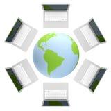 3d übertragen vom Laptop, der an das World Wide Web angeschlossen wird Stockfoto