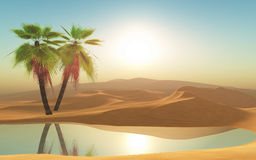 3d desert and palm trees Royalty Free Stock Image