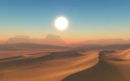 3D Desert scene. 3D render of an arid desert scene Stock Photo