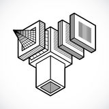 3D design, abstract vector cube shape. Stock Image