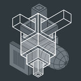 3D design, abstract vector dimensional cube shape. Abstraction, special artistic shape Stock Photo