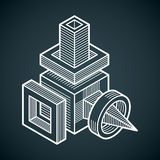 3D design, abstract vector dimensional cube shape. Royalty Free Stock Images