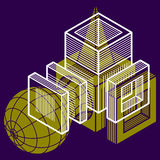 3D design, abstract vector dimensional cube shape. Royalty Free Stock Photography