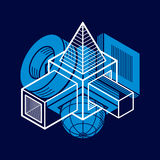 3D design, abstract vector dimensional cube shape. Artisic abstraction illustration. n Stock Images