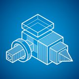 3D design, abstract vector dimensional cube shape. Abstraction, special artistic shape Royalty Free Stock Photos