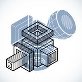 3D design, abstract vector dimensional cube shape. Abstraction, special artistic shape Royalty Free Stock Image