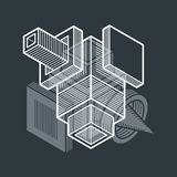 3D design, abstract vector dimensional cube shape. Artisic abstraction illustration Stock Image