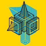 3D design, abstract vector dimensional cube shape. Geometric artistic composition Stock Image