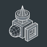 3D design, abstract vector dimensional cube shape. Stock Images