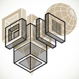 3D design, abstract vector dimensional cube shape. Geometric shapes in modern art composition. n Royalty Free Stock Photo