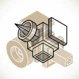 3D design, abstract vector dimensional cube shape. Modern geometric art composition. n Royalty Free Stock Images