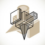 3D design, abstract vector dimensional cube shape. Modern geometric art composition. n Royalty Free Stock Photos