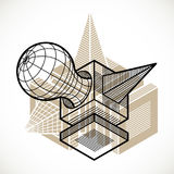 3D design, abstract vector dimensional cube shape. Modern geometric art composition. n Royalty Free Stock Photo