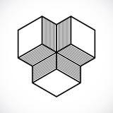 3D design, abstract vector dimensional cube shape. Modern geometric art illustration Royalty Free Stock Photo