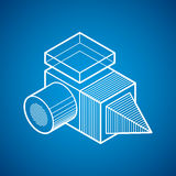 3D design, abstract vector dimensional cube shape. Stock Photo