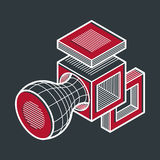 3D design, abstract vector dimensional cube shape. Stock Photography