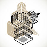 3D design, abstract vector dimensional cube shape. Stock Image