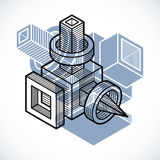 3D design, abstract vector dimensional cube shape. Royalty Free Stock Image