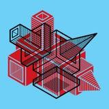 3D design, abstract vector dimensional cube shape. Stock Photos