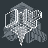 3D design, abstract vector dimensional cube shape. Royalty Free Stock Photos