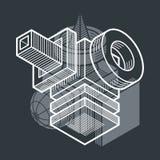 3D design, abstract vector dimensional cube shape. Modern geometric art illustration Stock Photos