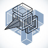 3D design, abstract vector dimensional cube shape. Modern geometric art illustration Royalty Free Stock Images