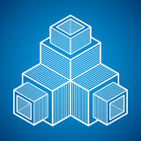3D design, abstract vector dimensional cube shape. Modern geometric art illustration. n Stock Photography