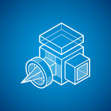 3D design, abstract vector dimensional cube shape. Modern geometric art illustration. n Royalty Free Stock Image