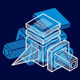 3D design, abstract vector dimensional cube shape. Royalty Free Stock Photo