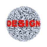 3d design - alphabet letter character sphere ball. 3d rendering of word design on sphere ball made up of random alphabet character letter Royalty Free Stock Photos