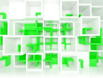 3d design background with white and green chaotic cells. Abstract 3d design background with white and green chaotic cells on the wall Royalty Free Stock Photos