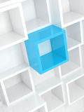 3d design background, white square cells and one blue. Abstract 3d design background with white square cells and one bright blue element Royalty Free Stock Photography