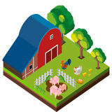 3D design for barn scene with many animals. Illustration Stock Images