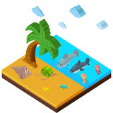 3D design for beach scene with lots of animals Royalty Free Stock Image