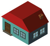 3D design for blue house with red roof. Illustration Royalty Free Stock Photography