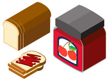3D design for bread and cherry jam. Illustration Royalty Free Stock Photography