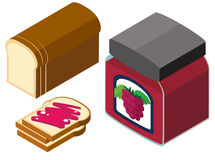 3D design for bread and grapes jam Royalty Free Stock Images