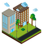 3D design for buildings along the road. Illustration Stock Image