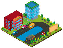 3D design for buildings and cars on the road. Illustration Royalty Free Stock Photo
